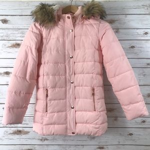 Justice girls pink puffer jacket  [A1]